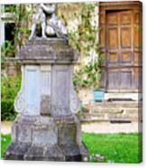 Little Angel With A Dog In The Montresor Garden In The Loire Valley Fr Canvas Print
