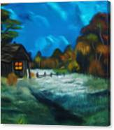 Little Pig's Barn In The Moonlight Dreamy Mirage Canvas Print