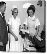 Man Male Handing Award Nurse February 1964 Black Canvas Print