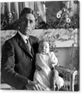 Man Male Holding Baby 1910s Black White Archive Canvas Print