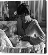 Mother Baby 1910s Black White Archive Bassinet Canvas Print