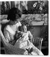 Mother Holding Baby 1910s Black White Archive Canvas Print