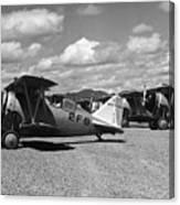 Navy Biplanes 19411945 Black White 1940s Airport Canvas Print