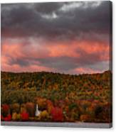 New England Fall Foliage Over The Small White Church Canvas Print