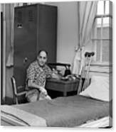 Patient Sitting Desk In Hospital Room Circa 1960 Canvas Print