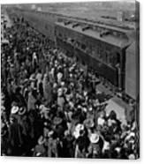 People Greeting Troop Train 19171918 Black White Canvas Print