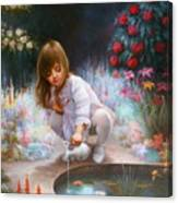 Pond And Girl Canvas Print
