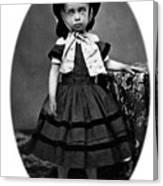 Portrait Headshot Girl In Bonnet 1880s Black Canvas Print