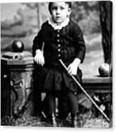 Portrait Headshot Toddler Walking Stick 1880s Canvas Print