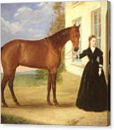 Portrait Of A Lady With Her Horse Canvas Print