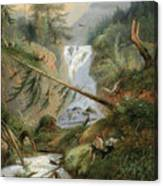 Shepherd Resting By The Waterfall Canvas Print