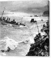 Shipwreck In Rough Seas 1940s Black White Canvas Print