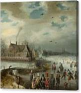 Skating On The Frozen Amstel River  Canvas Print