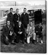 Skydiving Team Posing Airplane Circa 1960 Black Canvas Print