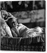 Smiling Baby In Bassinet 1910s Black White Boy Canvas Print