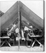 Soldiers Eating In Mess Tent 19061909 Black Canvas Print