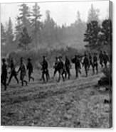Soldiers Maneuvers Circa 1908 Black White 1900s Canvas Print