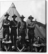 Soldiers Posing In Front Tents 19171918 Black Canvas Print