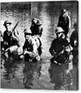 Soldiers Rifles Walking Through Water 1943 Black Canvas Print
