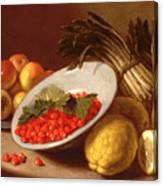 Still Life Of Raspberries Lemons And Asparagus  Canvas Print