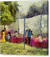 Tables At An Exhibition Canvas Print