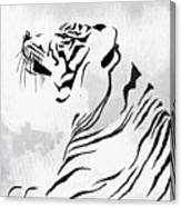 Tiger Animal Decorative Black And White Poster 3 - By Diana Van Canvas Print