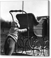 Toddler Pushing Baby Buggy 1926 Black White Boy Canvas Print