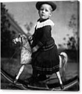 Toddler Rocking Horse 1890s Black White Archive Canvas Print