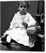 Toddler Sitting In Chair 1890s Black White Boy Canvas Print
