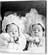 Twins In Baby Buggy 1910s Black White Archive Canvas Print