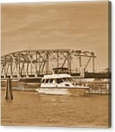 Vintage Swing Bridge In Sepia 2 Canvas Print