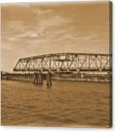 Vintage Swing Bridge In Sepia 4 Canvas Print