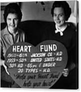 Women Females Heart Fund Sign 19591960 Black Canvas Print