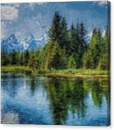 Wyoming Tetons Spruce Mountain Lake. Oil Painting . Canvas Print