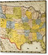 United States Map, 1866 Canvas Print