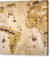 Vespucci's World Map, 1526 Canvas Print