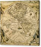 W. Hemisphere Map, 1596 Canvas Print