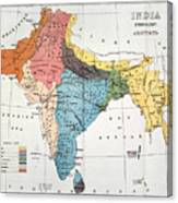 India: Map, 19th Century Canvas Print