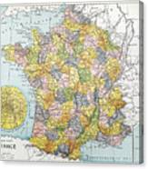Map Of France, C1900 Canvas Print