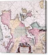 Map: European Coasts, 1715 Canvas Print