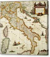 Map Of Italy, 1631 Canvas Print