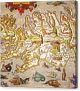 Iceland: Map, 1595 Canvas Print