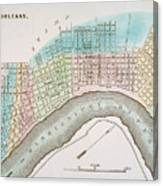 New Orleans Map, 1837 Canvas Print