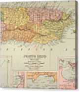 Map: Puerto Rico, 1900 Canvas Print