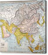 Asia Map Late 19th Century Canvas Print