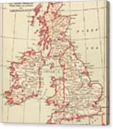 Map: British Isles, C1890 Canvas Print