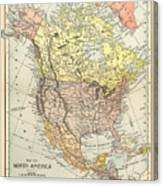 Map: North America, 1890 Canvas Print