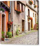 Half-timbered House Of Eguisheim, Alsace, France Canvas Print