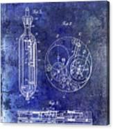 1913 Pocket Watch Patent Blue Canvas Print