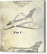 1956 Jet Airplane Patent 2 Blue Canvas Print